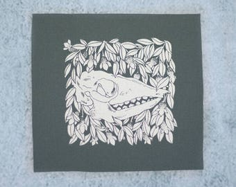 Hairy Armadillo and Begonia Flower Charcoal Sew On Punk Patch