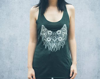 Dripping Tiger Moth Evergreen Heather Racerback Women's Tank