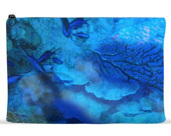 Accessory Pouch Oceanscape Design | Zippered Accessory Bag | Cosmetics Bag | Kindle Pouch | iPad Pouch | Organizer Bag