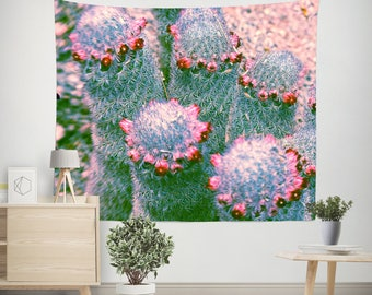 Cactus Wall Tapestry, Succulent Tapestry, Colorful Wall Tapestry, Dorm Wall Tapestry, Desert Wall Hanging, Large Wall Art, Cacti Tapestry