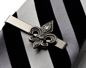 Limited Time Offer Fleur de Lis Tie Clip - Tie Bar - Tie Clasp - Business Gift - Handmade - Gift Box Included