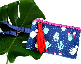 Cactus Pooch Bag - Pouch, treat bag, zipper pouch, OOAK, ready to ship, pom pom, tassel