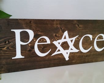 Peace with Star of David Sign Board