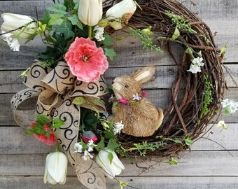 Only 1 AVAILABLE Spring Easter bunny wreath, spring door decorations, Easter wreath, spring outdoor wreaths, rabbit