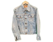 Vintage LEVIS Denim Jacket Jean Womens Embroidered  UK 8 XS (26341)