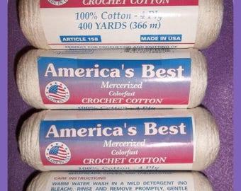 Crochet & Tatting Thread Cotton Yarn America's Best Knitting 4 Ply Ecru 1600 Yards
