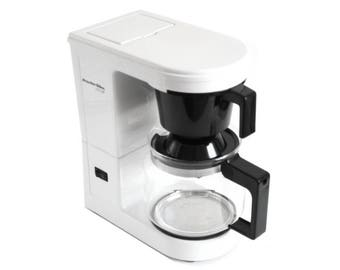 Proctor Silex Coffee Maker, Pull Out Basket, 2 to 12 Cup, Type A6, Black & White, 1990s Kitchen Appliances