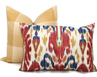 Decorative Pillow Cover in Lee Jofa Pardah Ikat Square, Euro or Lumbar Pillow, Red Blue Gold, Throw Pillow, Accent Pillow
