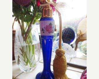 30% OFF SALE Antique Perfume Atomizer Cobalt Glass Hand Painted Floral Gold Plated Blue White Pink Czech