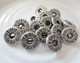 """Antique Silver Buttons Shank Metal 3/4"""" Set of 15 Wire Wrap Design Black Contrast 19mm"""
