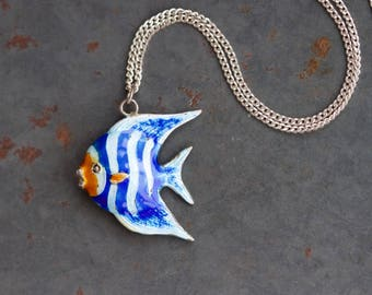Tropical Fish Necklace - Sterling Silver Blue Enamel stripes Pendant on Chain - Vintage Nautical Jewelry