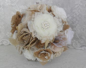 Rustic Bouquet, Woodland Bouquet, Fabric Bridal Bouquet, Burlap Wedding Bouquet, Wedding Accessory, Burlap & Lace Bouquet,Vintage Bouquet