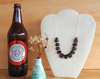 Recycled Glass Bead Necklace. Glass Beads made from a Beer Bottle