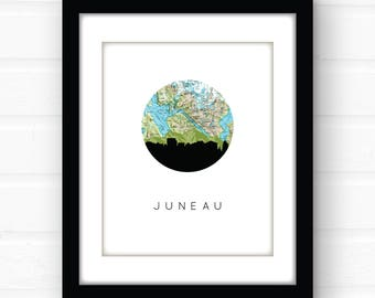Juneau, Alaska art | Alaska wall art | Alaska map art | city skyline print | Alaska souvenir | Alaska art print | travel poster