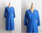 1960s Royal Blue Dress / Vintage Day Dress / 60s Dress / Terry Dress / Size L/XL