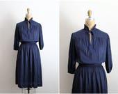 70s Polka dot Dress / Navy Blue and White Dress / 1970s / Bow Dress / Day dress / Size S/M