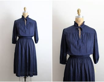 70s Polka dot Dress / Navy Blue and White Dress / 1970s / Bow Dress / Day dress / Size S/M
