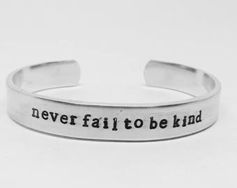 Never fail to be kind: hand stamped Peter Capaldi Doctor Who-inspired handstamped whovian aluminum cuff bracelet