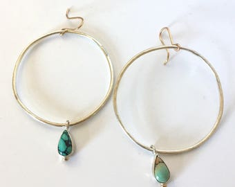 turquoise hoops, teardrop pear spiderweb, sterling silver 14k gold, large boho earrings, drops, big oversized hoops