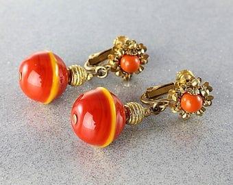 Miriam Haskell Earrings, Orange Glass Dangle Earrings clip on, 1960s jewelry