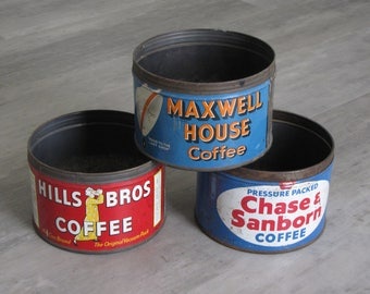 Vintage Hills Bros., Maxwell House and  Chase Sanborn Coffee Cans - set of three