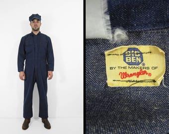 Vintage Denim Coveralls Wrangler Big Ben Dark Wash Workwear Jumpsuit - Size 42 Short