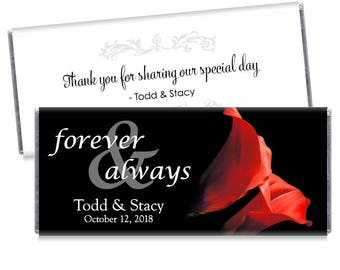 Set of 12 - Forever and Always Wedding Candy Bar Wrappers - Tulip Wedding Favors - Many color choices