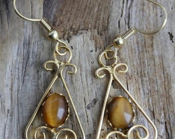 Clearance Sale - Golden Tiger Eye Gold Plated Earrings - Item 1005
