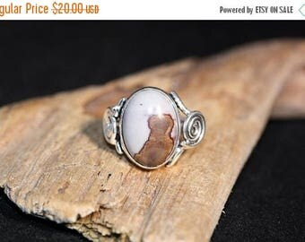 Clearance Sale - Chohua Jasper Sterling Silver Plated over Solid Copper Ring - Size 7 3/4     Item 1030