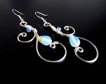 Moonstone Earrings, Silver Earrings, Wire Earrings, Wire Wrapped Jewelry, Handmade Jewelry