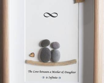 Pebble Art framed Picture- Mother and Daughter - The Love between a Mother & Daughter is Infinite