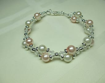 Two Strand Light Pink and White Pearl Bracelet