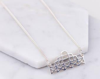 Brighton West Pier Necklace (Sterling Silver) Minimalist Geometric Jewellery - Art Deco Seaside Necklace
