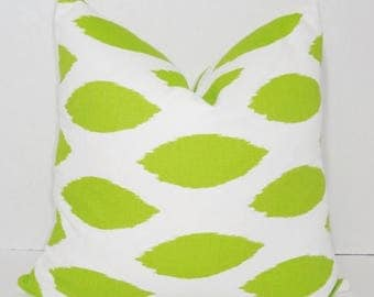 FALL is COMING SALE Decorative Chartreuse Pillow Throw Pillow Covers Lime/White Green Ikat Pillow Cover All Sizes