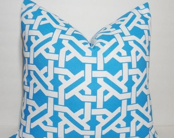 FALL is COMING SALE Outdoor Blue Trellis Geometric Pillow Cushion Covers Porch Pillow Blue & White 18x18