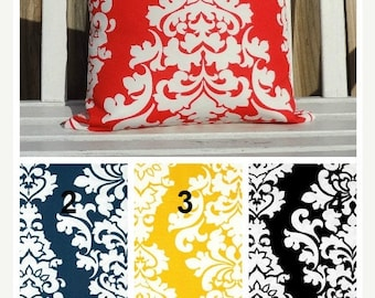 FALL is COMING SALE Outdoor Pillow Cover Black Calypso Yellow Blue Damask Design Patio Deck Pillow Choose Size & Color