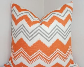 """FALL is COMING SALE Outdoor Pillow Orange Grey Zig Zag Chevron Cushion Cover Porch Decorative Pillow 18"""""""