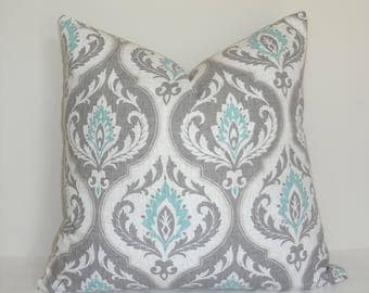 Grey Charcoal White Aqua Damask Floral Pillow Cover Throw Pillow Cover Living Room Decor Size 18x18