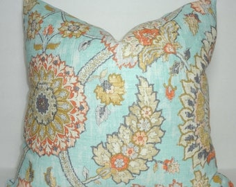 SPRING FORWARD SALE Waverly Clifton Hall Pale Blue & Orange Floral Pillow Cover Decorative Pillow Cover Size 18x18