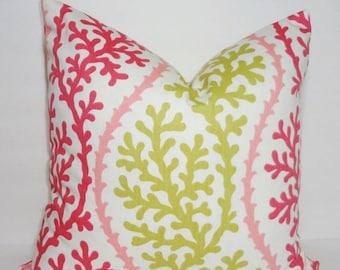 SPRING FORWARD SALE Ocean Coral Pink & Citrine Pillow Cover Nautical Pink Coral Pillow Cover 18x18