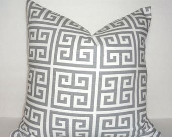 SPRING FORWARD SALE Grey and White Greek Key Towers Geometric Print Pillow Covers Decorative Throw Pillow Covers All Sizes