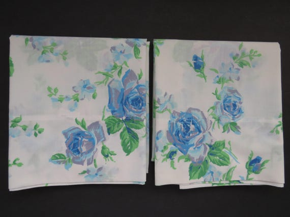 Vintage Blue Roses Pillowcases By Fieldcrest Set Of 2
