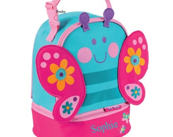 Personalized Girls Lunch Box Bag Stephen Joseph Lunch Pals in Butterfly