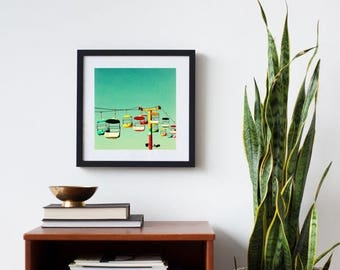 framed art, mid century art print, framed wall art, bright, modern - Summer of 67, framed photography art print