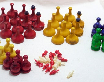 Vintage Wooden Game Pieces, Painted Wooden Game Pieces, Vintage Game Pieces, Collage Crafting Assemblage Supplies, Wood, Painted Vintage...