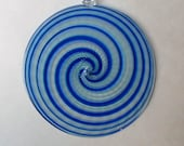 "Reserved Sun Catcher / Ornament  5"" diameter- Swirl Series- Cobalt Blue with Clear Hook  : DISASTER RELIEF"