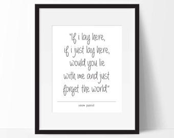 Snow Patrol - Chasing Cars Lyrics. Typography Print. 8x10 on A4 Archival Matte Paper