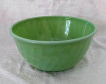 Vintage Green Jadeite Mixing Bowl Swirl Design