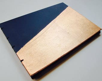 Large Navy and Copper Rose Gold Metal Leaf Modern Guest Book Instax Polaroid Photo Album