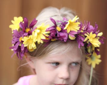 floral crown,photo prop violet and yellow floral wreath